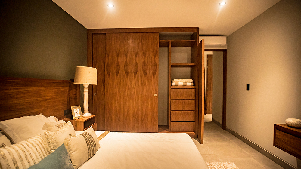 Bedroom with wooden wardrobe