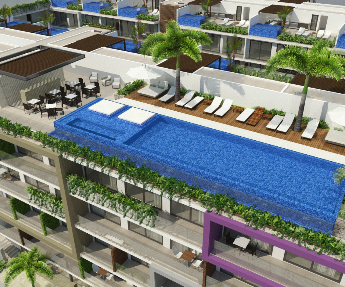 Exterior view of rooftop pool